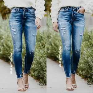 Button Fly Kancan Ankle Skinny Jeans
